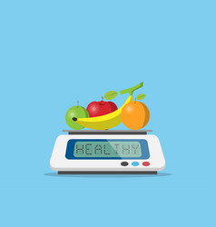 Fruits on digital weight scale with healthy word vector