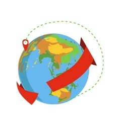 Globe with red arrow going around and marked vector