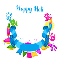 happy holi colorful frame of buckets vector image vector image