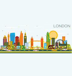 london skyline with color buildings and blue sky vector image