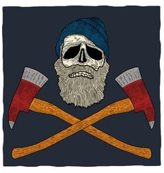 Lumberjack skull poster vector