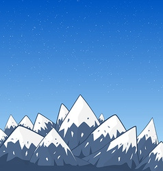 Mountain Landscape with Snow Top and Stars at the vector image vector image