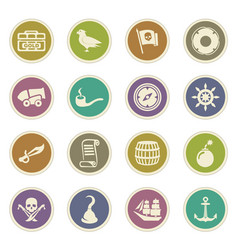 pirates icons set vector image vector image