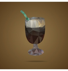 Polygonal cup of coffee with a green tubule on a vector image