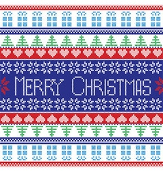 Red blue green white merry christmas pattern vector