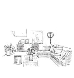 Room interior sketch hand drawn sofa vector
