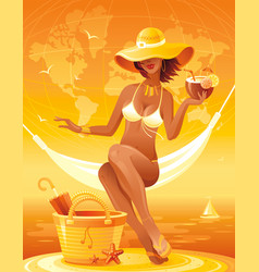 Sea sunset beach people traveling banner summer vector