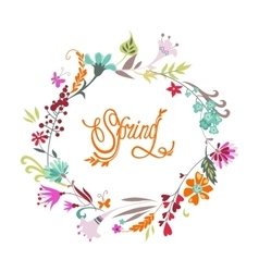 Spring hand drawn floral calligraphic background vector