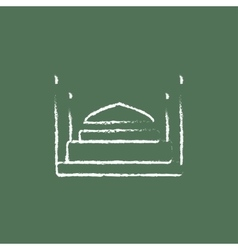 Taj mahal icon drawn in chalk vector