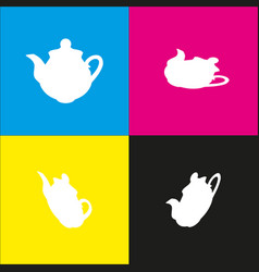 Tea maker sign white icon with isometric vector
