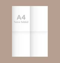 Twice folded a4 paper mockup realistic style vector