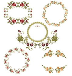 Vintage floral graphic collection vector image vector image