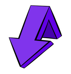 Violet down arrow icon icon cartoon vector