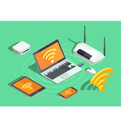 Wireless Technology Electronic Devices Isometric vector image vector image