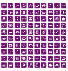 100 work icons set grunge purple vector