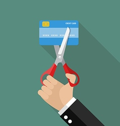 Hand cutting credit card vector image