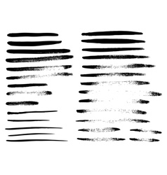Set of different grunge brush strokes vector