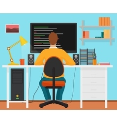 Man programmer back working on his pc computer vector