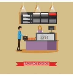 Airport baggage check concept vector