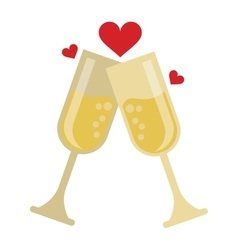 Two cup glass champagne love heart celebration vector