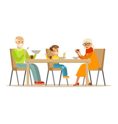 grandfather grandmother and boy having dinner vector image