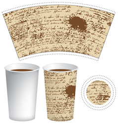 template paper cup with the texture of manuscript vector image