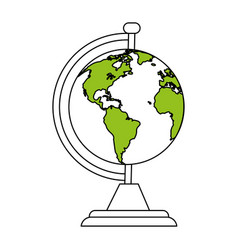 Color silhouette cartoon earth globe with green vector