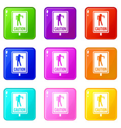 Zombie road sign icons 9 set vector