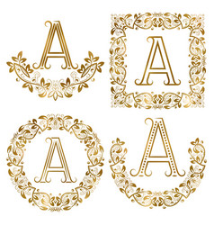 Golden a letter ornamental monograms set heraldic vector