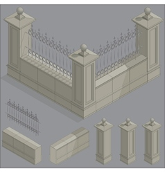 Isometric fence set construction kit vector