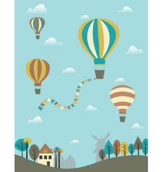 Hot air balloons over the country vector