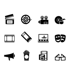 Silhouette movie theatre and cinema icons vector