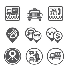 Simple set of taxi related icons vector