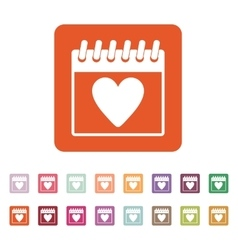 The calendar icon valentines day symbol vector