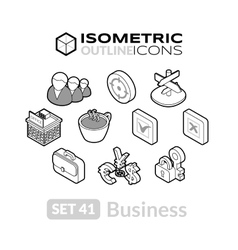 Isometric outline icons set 41 vector