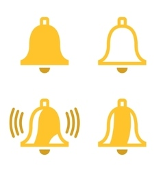 Yellow bell icons set vector