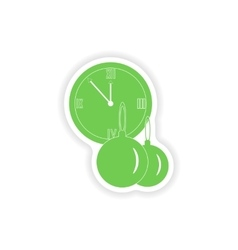 Paper sticker on white background clock christmas vector