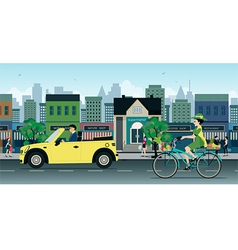 Bicycles on the Road vector image vector image