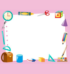 Border template with educational items vector