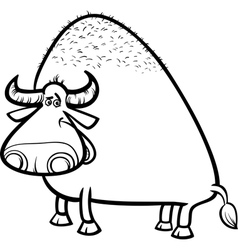 Bull or buffalo cartoon coloring page vector