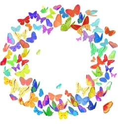 Butterfly wreath design element in bright colors vector