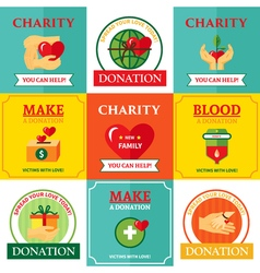 Charity emblems design flat icons composition vector