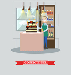 Confectioner decorating birthday cake vector
