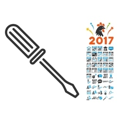 Contour screwdriver icon with 2017 year bonus vector