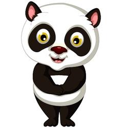 cute panda cartoon posing vector image vector image
