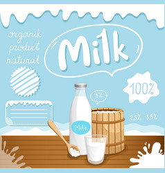 Dairy poster with milk products vector