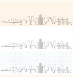 Detroit hand drawn skyline vector