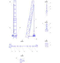 Engineering drawing telescopic tower vector