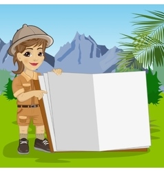 Explorer girl in safari outfit showing giant book vector