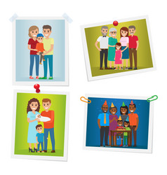 Family happy moments photos set gallery on white vector